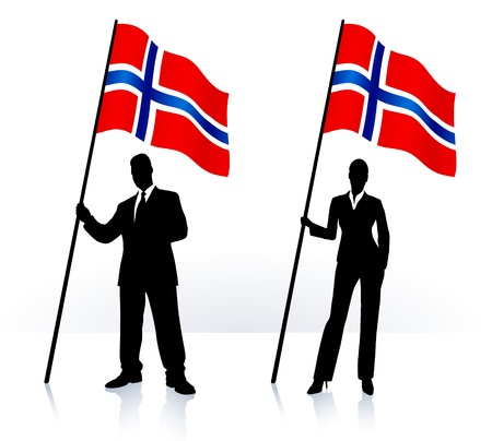 norway flag: Business silhouettes with waving flag of  Norway   Illustration