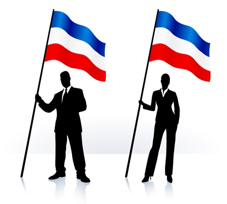 Business silhouettes with waving flag of serbia and montenegro  Ilustração