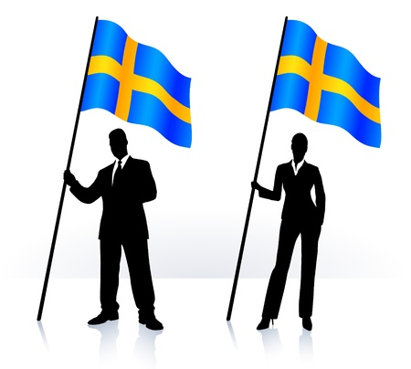 Business silhouettes with waving flag of Sweden     イラスト・ベクター素材