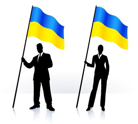 ウクライナの旗を振ってビジネス シルエット