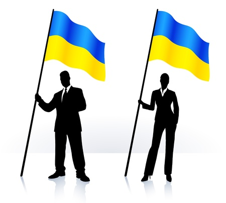 Business silhouettes with waving flag of  Ukraine  Vector