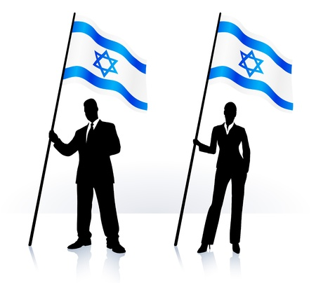 Business silhouettes with waving flag of Israel  Vector