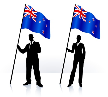 new zeland: Business silhouettes with waving flag of  New Zeland