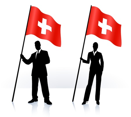 swiss flag: Business silhouettes with waving flag of switzerland