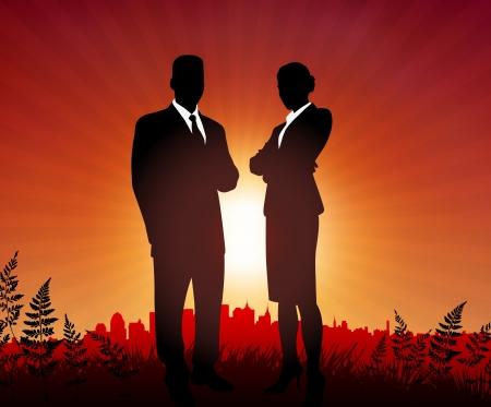 Businessman and Businesswoman on sunset backgroundOriginal Vector IllustrationBusiness People on Sunset Background Stock Vector - 21233819