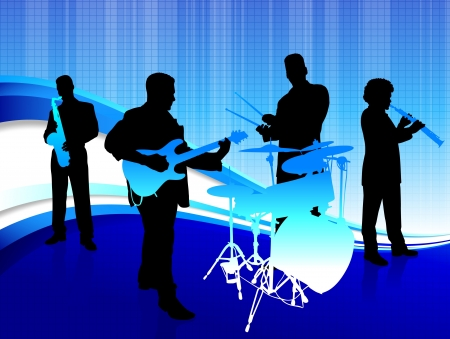 Musical Band on Abstract Blue Background Original Vector Illustration  Musical Band Ideal for Live Music Concept Illustration