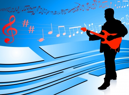 Guitar Player on Abstract Blue BackgroundOriginal Vector Illustration Music Player Ideal for Live Music Concept