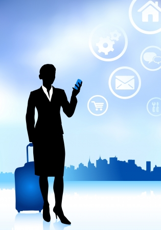 woman on phone: Business Traveler with City Skyline Original Vector Illustration Traveling Around The World Ideal for business concepts