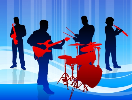 Music Band on Blue Background