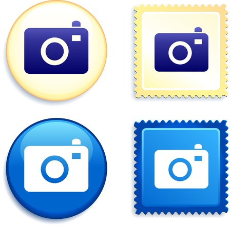 Camera Stamp and Button Original Vector Illustration Buttons Collection Ilustração