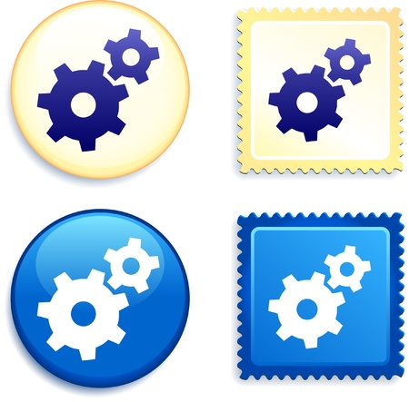 Internet Gear on Stamp and Button Original Vector Illustration Buttons Collection