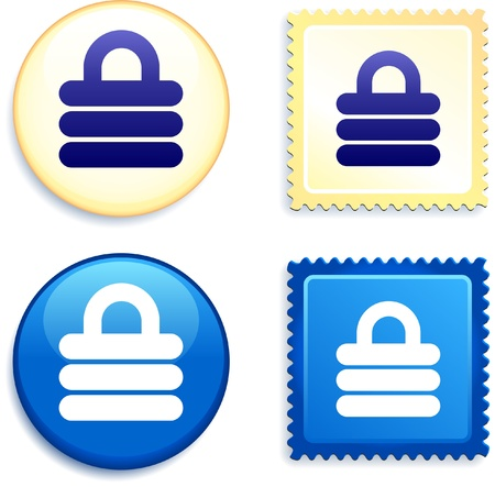 Lock on Stamp and Button Original Vector Illustration Buttons Collection