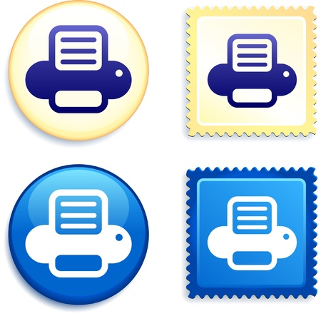 Printer on Stamp and Button Original Vector Illustration Buttons Collection