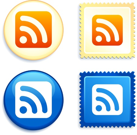 digitally generated image: RSS on Stamp and Button Original Vector Illustration Buttons Collection