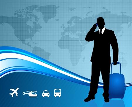 Businessman traveler with world map background Original Vector Illustration Traveling Around The World Ideal for business concepts Illustration