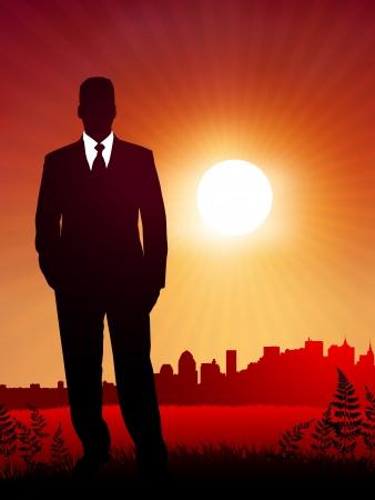 businessman on sunset backgroundOriginal Vector IllustrationBusiness People on Sunset Background Stock Vector - 21233886