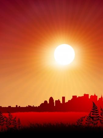 Sunset over city background Original Vector Illustration  Sunset background Ideal for Tropical Idea