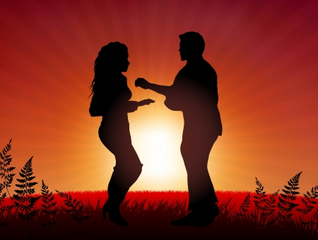 couple lit: Couple dancing on sunset background  Original Vector Illustration Young Crowd Ideal for Party Background
