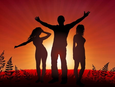 Young people party on sunset background Original Vector Illustration Young Crowd Ideal for Party Background Vector