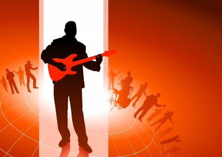 Guitar player with Musical Group Background Original Vector Illustration  Musical Band Ideal for Live Music Concept Vector