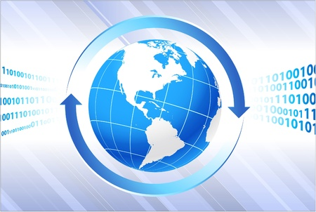 Globe on business background