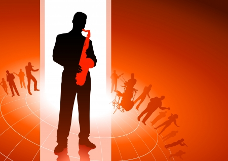 Saxophone player with musical group background Original Vector Illustration  Musical Band Ideal for Live Music Concept Vector