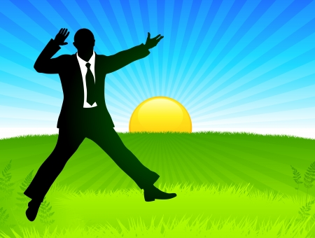 Excited Businessman on Sunrise Background