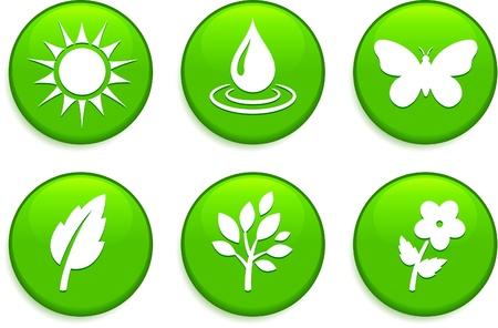 Green Environmental ButtonsOriginal Vector IllustrationButtons Collection Illusztráció