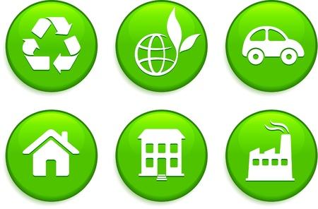 Green Environmental Buttons Original Vector Illustration Buttons Collection Vector