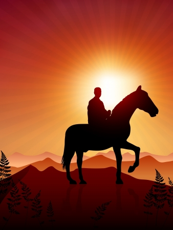 Horse and rider on sunset background