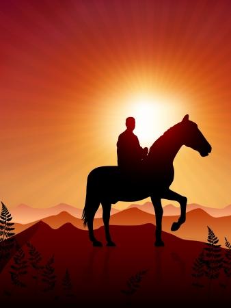 Horse and rider on sunset backgroundOriginal Vector IllustrationAnimals on Sunset Ideal for Wildlife Nature Concepts