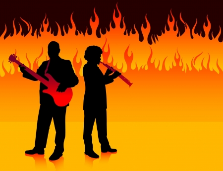Musical Band in Hell Original Vector Illustration  Musical Band Ideal for Live Music Concept Vector