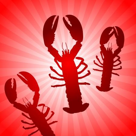 Lobster Set on Abstract Red BackgroundOriginal Vector IllustrationAnimals ideal for Wildlife Concept