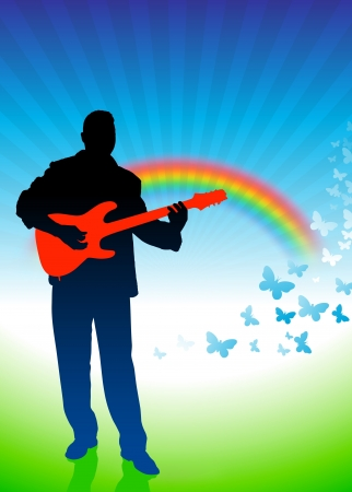 Guitar player on nature background