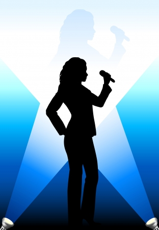 Singer under the Bright Lights Original Vector Illustration Music Player Ideal for Live Music Concept Vector