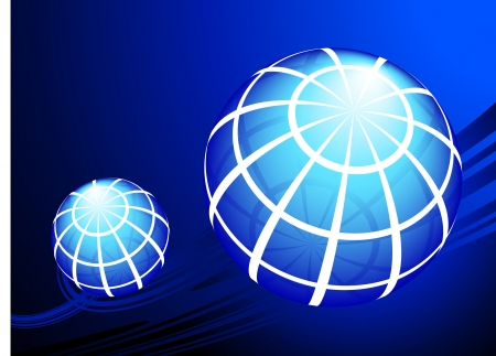 Globes on blue background Original Vector Illustration Globes and Maps Ideal for Business Concepts  向量圖像