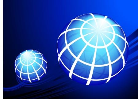 Globes on blue backgroundOriginal Vector IllustrationGlobes and Maps Ideal for Business Concepts 版權商用圖片 - 21234044
