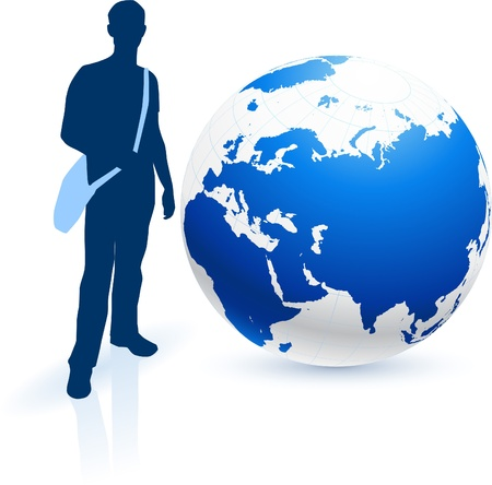 bookbag: Traveler with Globe Original Vector Illustration Globes and Maps Ideal for Business Concepts