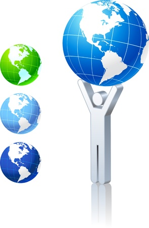 Globe collection with stick figure