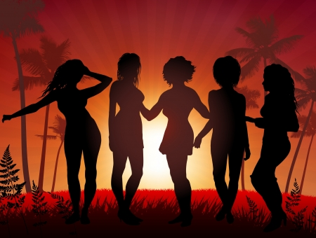 Young Women party on sunset background Original Vector Illustration Young Crowd Ideal for Party Background Vector