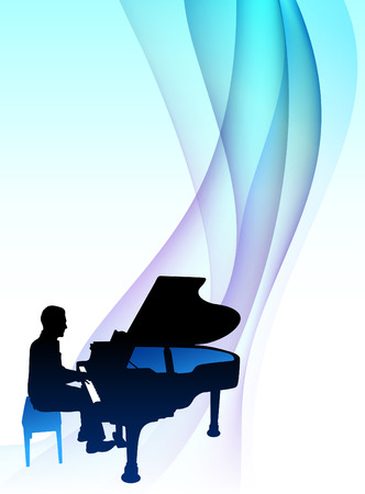 Piano  Musician on Abstract Flowing BackgroundOriginal Illustration