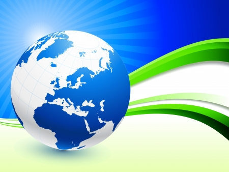 businesses: Globe on Abstract Wave Background Original Illustration