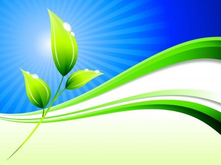 Plant pn Abstract Wave BackgroundOriginal Illustration
