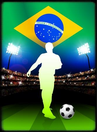 スタジアムの試合でブラジルのサッカー選手 オリジナル イラスト
