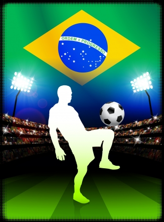 Brazil Soccer Player in Stadium Match Original Illustration Vector