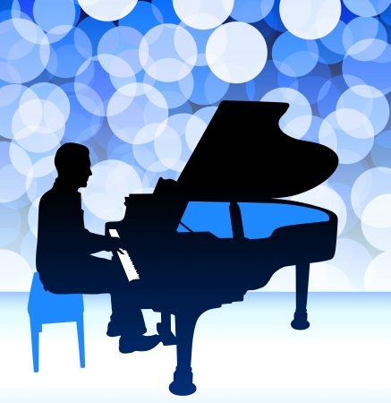 Piano Musician on Blue Lens Flare Background Original Illustration