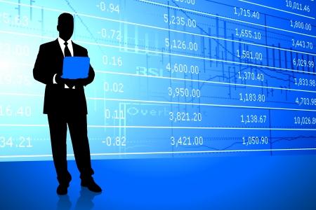 stock exchange brokers: Businessman on Stock Market Background Original Illustration Illustration