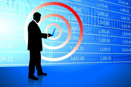 stockmarket chart: Businessman on Stock Market Background Original Illustration Illustration
