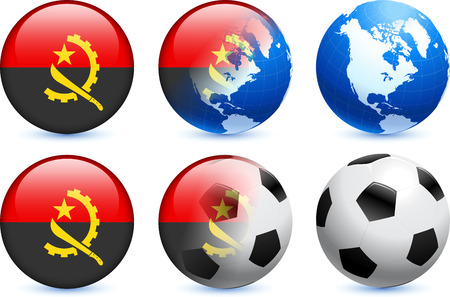 Angola Flag Button with Global Soccer Event Original Illustration Vector