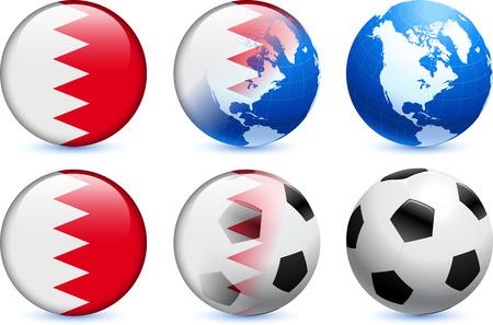 Bahrain Flag Button with Global Soccer EventOriginal Illustration Ilustração